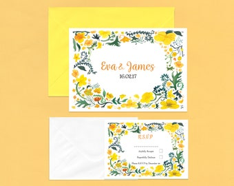 Country Yellow Buttercup RSVP Invitations