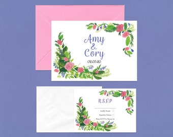 Pink Rose Wedding RSVP Invite Set