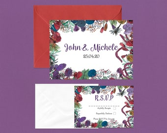 Winter Wildflower Wedding RSVP Invite Set
