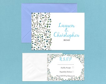 Blue Daisy Wedding Invitations