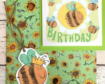 Bumble Bee Birthday Wrapping Paper