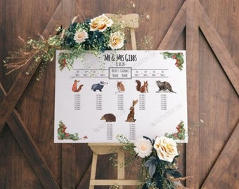 Wedding seating plan reprint