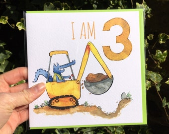 3rd Birthday Truck Greetings Card