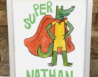 Personalised Super Hero Children's Bedroom Print
