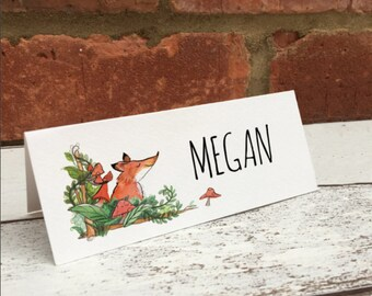 Folded Woodland Themed Wedding Place cards, custom listing for Sophia