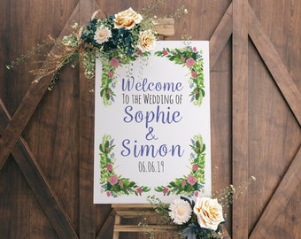 A2 Pink Rose Welcome to my Wedding Sign