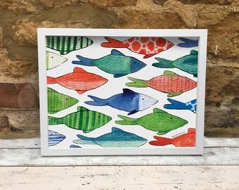 Colourful Fish Bathroom Decor Art Print