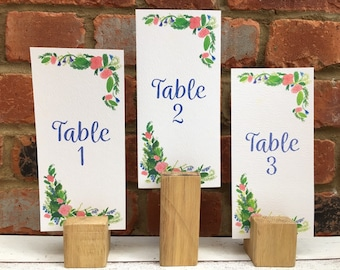 Pink Rose Wedding Table Number