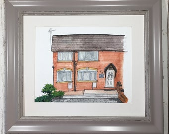 Ink Drawing House, House portrait, Custom house portrait, Draw My House, Housewarming Present, New House, Gift personalised gift,