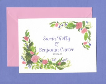 Pink Rose and Greenery Wedding Invitations