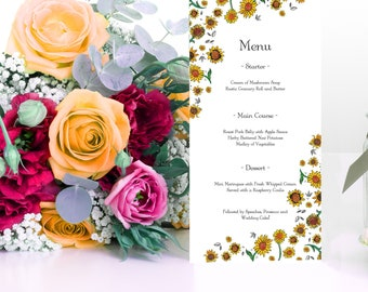 Yellow Sunflower Wedding Menu Cards