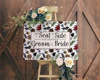 Choose a Seat Wedding Sign - Wedding Prints - Bumble Bee Wedding - Wild Flower Theme