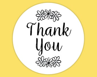 Thank You Envelope Seal Stickers, Daisy Bloom Theme, Wedding Stationery, Favour Stickers