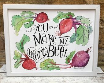 You Make My Heart Beet Family Wall Art Foodie Pun Gift
