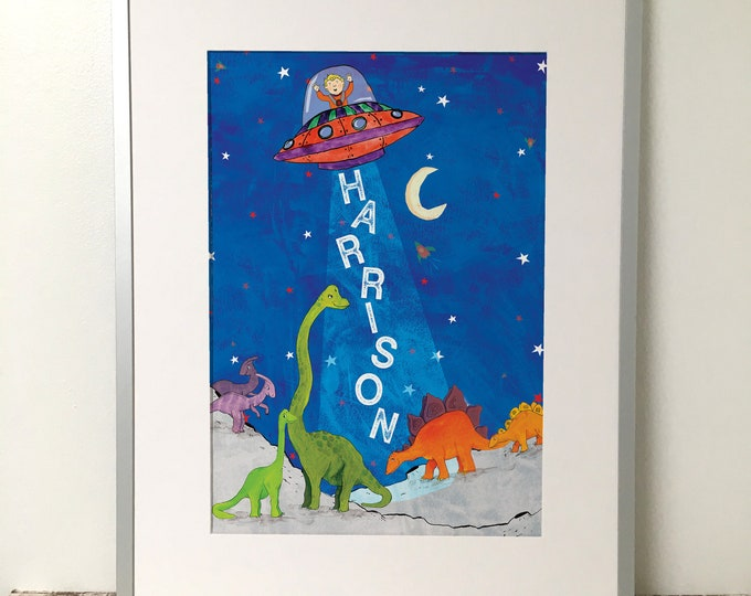 Featured listing image: Dinosaur and Space Children's Name Print Art