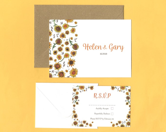 Featured listing image: Sunflower Wedding RSVP Save the Date Sets