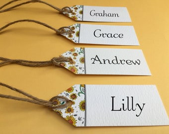 Sunflower Twine Name Tag, Wedding Place Tags