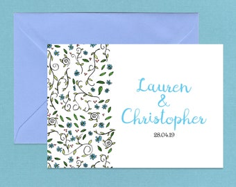 Simple Elegant Blue Daisy Wedding Invitations