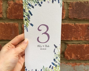 Purple Lavender Table Number Cards