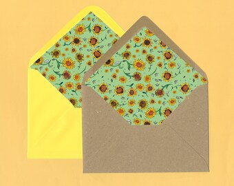 Sunflower Envelope Liners - Matching Wedding Invitation Extras