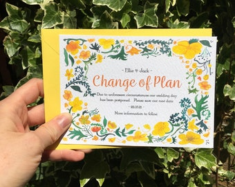 Floral Wedding Change of Plan Cards