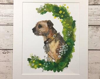 Custom Dog Portrait, draw my dog, draw my pet, original painting, watercolour painting,