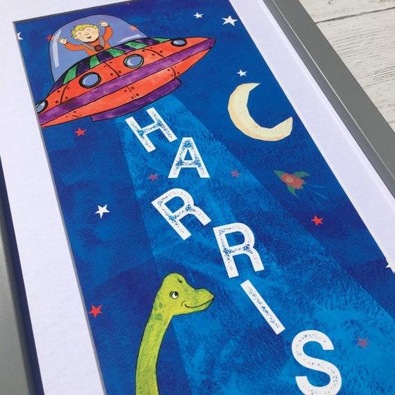 Space and Dinosaur Children's Name Print Art
