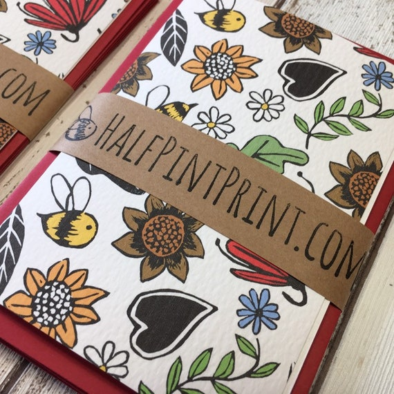 Bumble Bee Notelet Blank Greetings Card