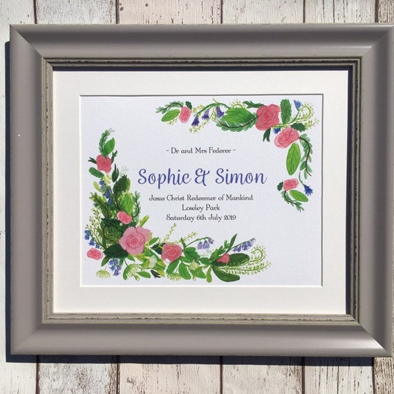 Commemorative wedding gift, floral commemorative print, wedding present, wedding signs, Rose wedding gift