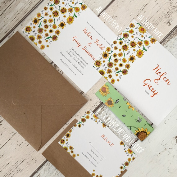 Sunflower Wedding Save the Date Sets