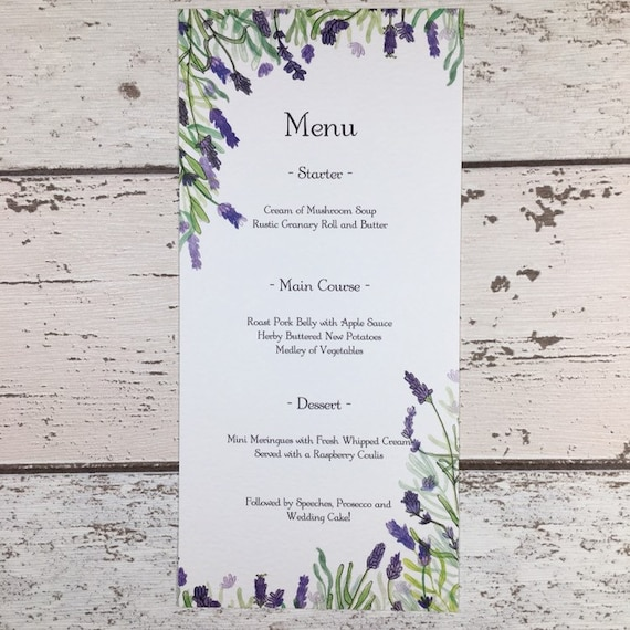 Lavender Wedding Menu Cards