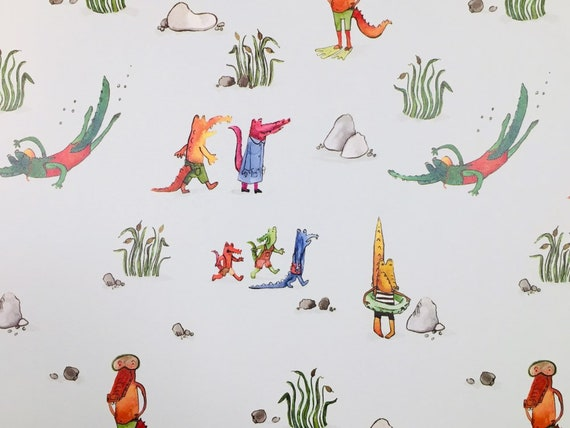 Childrens crocodile wrapping paper
