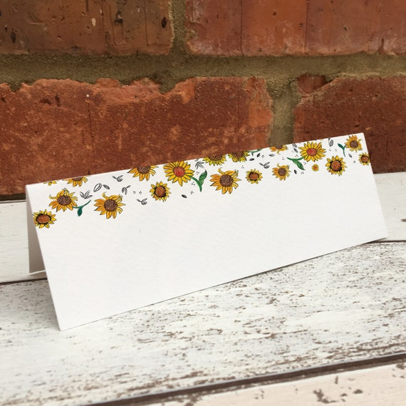 Sunflower Wedding Place Setting Name Cards