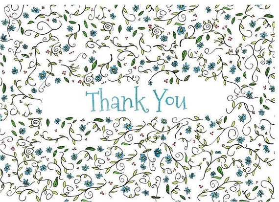 Blue Thank You Cards for Wedding