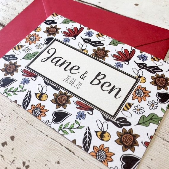 Bumble Bee Wedding Invitation Card