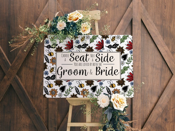 Choose a Seat Wedding Sign - Wedding Prints - Bumble Bee Wedding - Wild Flower Theme