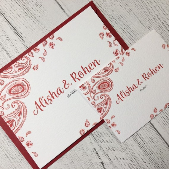 Red Paisley Ethnic Wedding Invitations