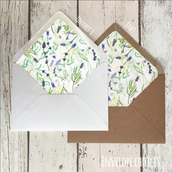 Lavender Illustrated Envelope Liners - Wedding Invitation Accessories