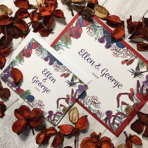 Winter Wildflower Wedding Invitations