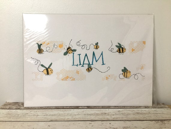 SALE Children's Yellow Bumble Bee Name Print