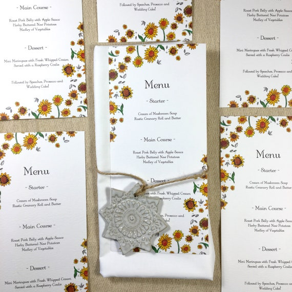 Yellow Sunflower Wedding Menu Cards