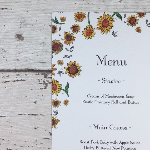 Yellow Wedding Menu Signs