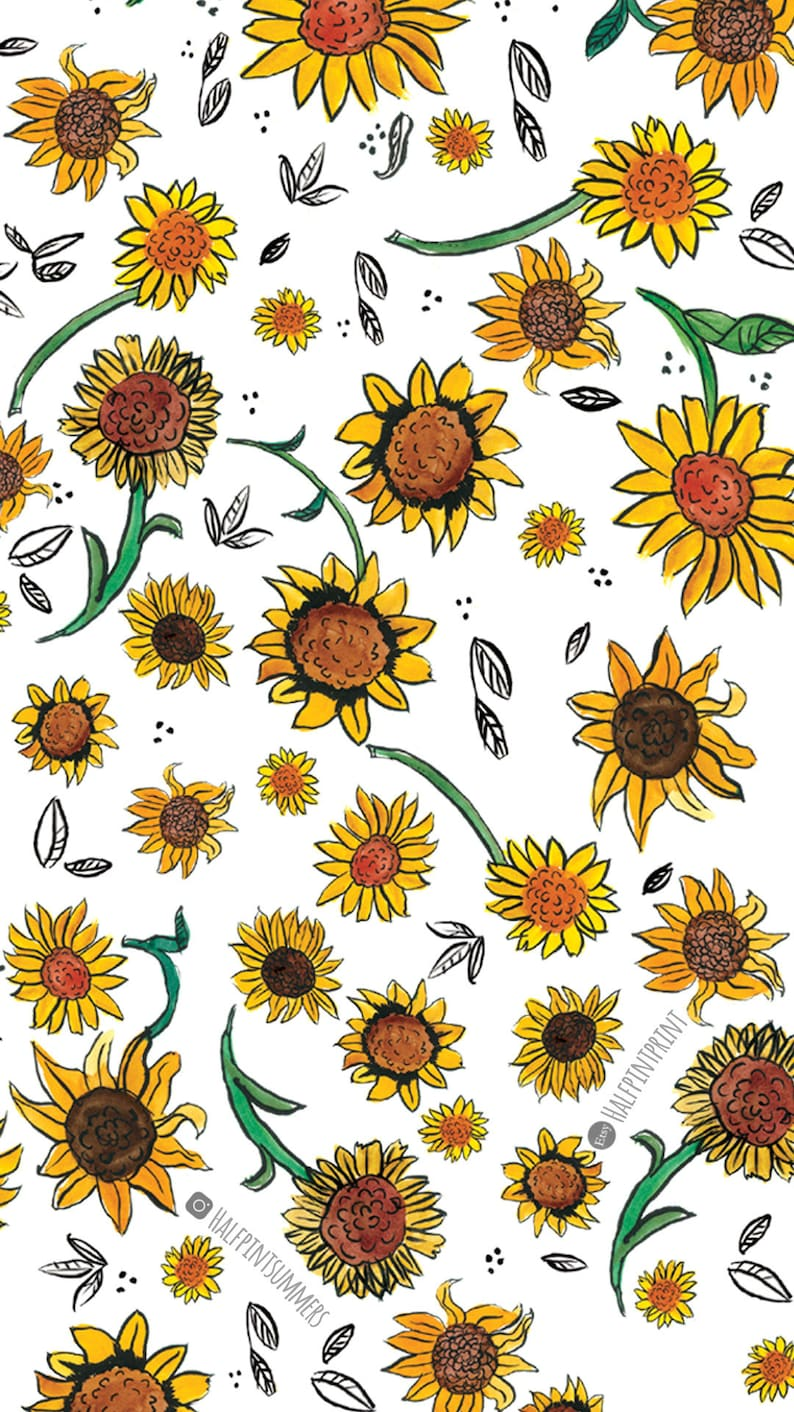 Sunflower Screensaver Floral Print Phone Wallpaper Etsy