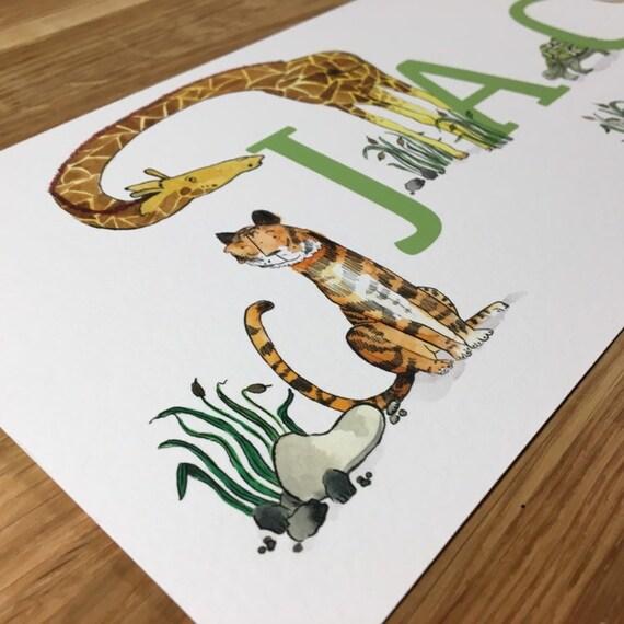 Children's Personalised Safari Zoo Name Print