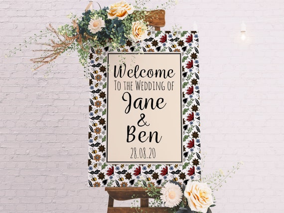 A1 Wedding Sign, Welcome to my Wedding Easel Sign, Bumble Bee Wedding, Boho Wildflower Wedding