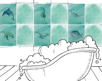 tile sticker bathroom whale turtle seahorse, tile sticker tiles to stick on adhesive film for bathroom tiles, 20x25, 15x20, 14,5x19,5cm