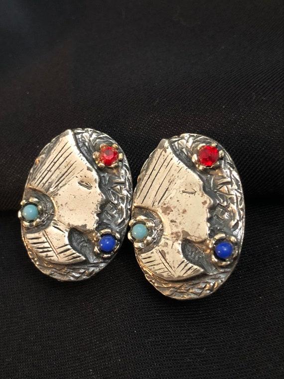 Vintage Egyptian Nefertiti Cleopatra earrings- sil