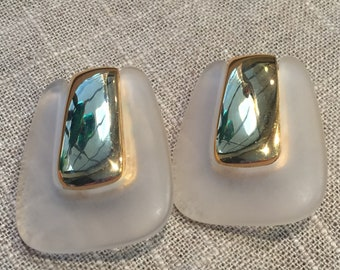Vintage Avon Lucite and gold mid century modern earrings