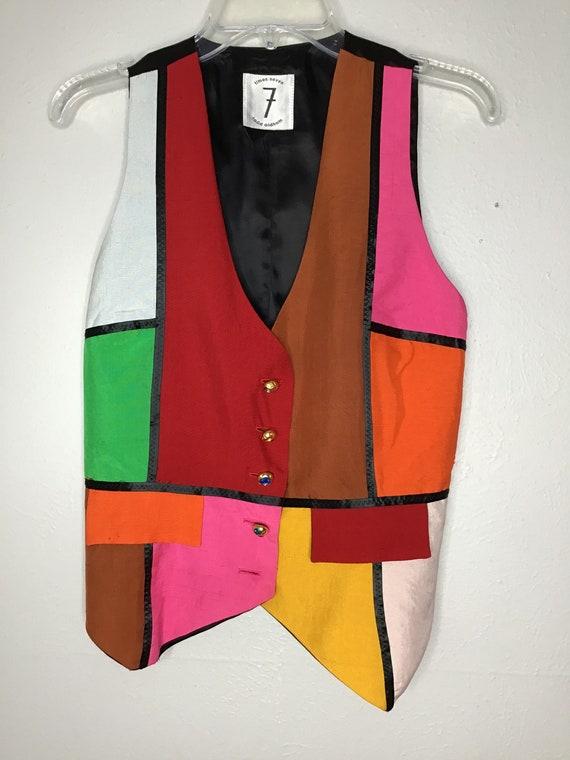 Vtg Todd Oldham Silk Colorblock Vest Lg