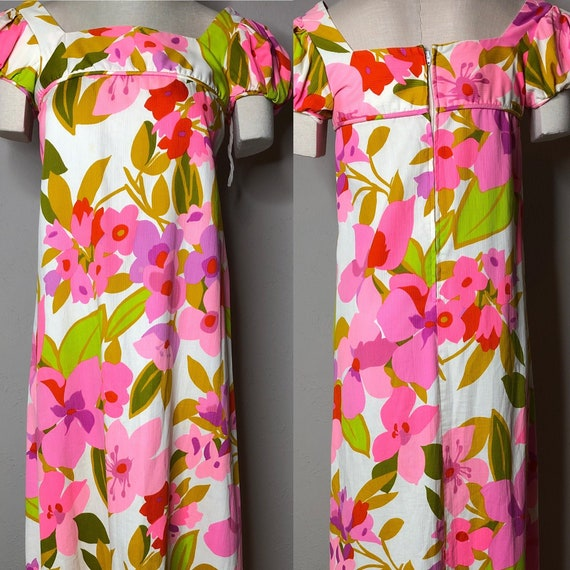 Vtg Malia Honolulu Maxi Dress Puffed Sleeves